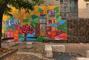 Elisa Sartori e Francesca Ars, murale senza titolo, 2011, giardinetto vie Cecchi/Piossasco