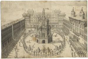 Tempio delle virtù. Fuochi di gioia in Piazza Castello per il genetliaco etc. ASCT, D 2061. © Archivio Storico della Città di Torino