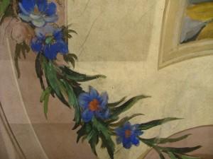Dettaglio di un affresco durante i lavori di restauro a villa Amoretti. © Città di Torino.