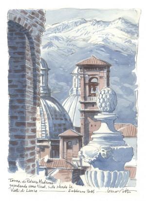 Lorenzo Dotti, Torino, da Palazzo Madama guardando verso Nord, sullo sfondo le Valli di Lanzo, febbraio 2016, acquerello
