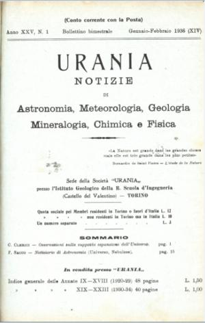 «Urania», gennaio-febbraio 1936, copertina