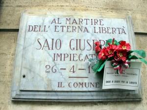 Lapide dedicata a Saio Giuseppe (1882 - 1945)