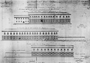 Progetto per i nuovi prospetti dell'Ospedale Militare Divisionario, 1858. ASCT, Progetti edilizi. © Archivio Storico della Città