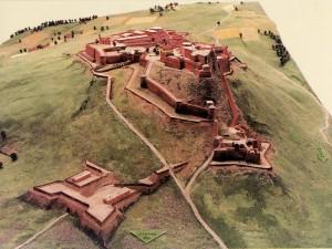 Plastico della fortezza di Verrua nel 1704. Immagine tratta da depliant pubblicato dal CeSRAMP.