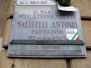 Lapide dedicata ad Antonio Malucelli (1913 - 1945)