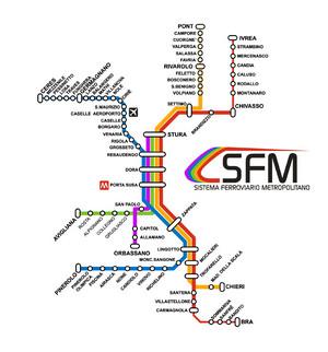 Lo schema delle cinque linee del Sistema Ferroviario Metropolitano. © Agenzia Mobilità Metropolitana Torino