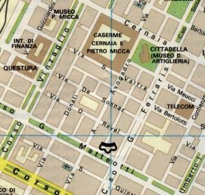 Ubicazione del Pastiss nel tessuto urbano attuale.