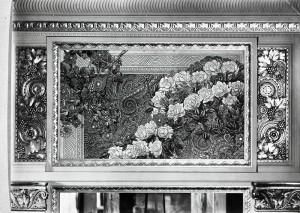 Pasticceria Romana Succ. Bass, Giulio Casanova, Decorazione floreale sopra la specchiera, in L'Architettura Italiana, n. 6, giugno 1920, (riproduzione da libro: A. Job, M. L. Laureati, C. Ronchetta, 1984, p.58, n. 3)