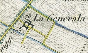 Cascina Generala. Antonio Rabbini , Topografia della Città e Territorio di Torino, 1840. © Archivio Storico della Città di Torino