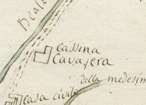 Cascina Cavaliera. Disegno del corso della bealera Putea, s.d. © Archivio Storico della Città di Torino