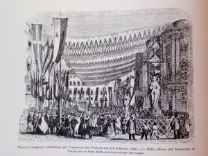 Piazza Carignano addobbata per l'apertura del Parlamento, 18 febbraio 1861. Litografia da