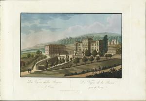 Veduta di Villa della Regina. Litografia da disegno di Nicolosino, 1820. © Archivio Storico della Città di Torino.