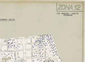 Bombe e mezzi incendiari lanciati 1:5000, 1942-1945. Zona 12: Fiat Mirafiori - Lingotto Ippodromo. ASCT, Tipi e disegni,cart. 68, fasc. 1 disegno 12, quadrante 1. © Archivio Storico della Città di Torino