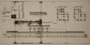 Il prospetto della scuola nel progetto presentato al Comune dalla Società degli Asili Infantili nel 1911. © Archivio Storico Città di Torino, Progetti edilizi, pratica 1911/69