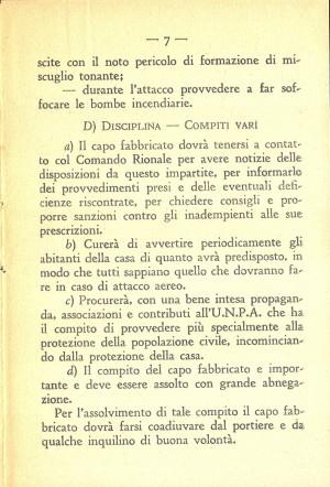 Unione Nazionale Protezione Antiaerea. Norme per il capo fabbricato, pagina 7 di 8. ASCT, Miscellanea sicurezza pubblica 58. © Archivio Storico della Città di Torino