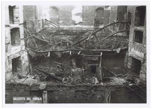 Teatro di Torino (già Scribe), Via Montebello 5.  Effetti prodotti dai bombardamenti dell'incursione aerea dell'8 dicembre 1942. UPA 2698D_9C05-10.© Archivio Storico della Città di Torino
