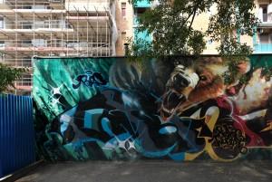 Deder, Wubik, Bans, murale senza titolo, 2015, giardini Natale Re