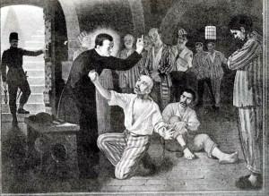 Illustrazione con san Giuseppe Cafasso con i carcerati. Collezione privata Toppino