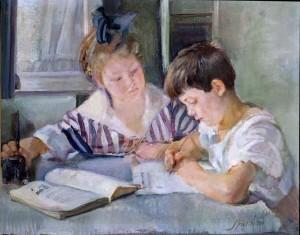 Armando Spadini, Bambini che studiano, 1918, olio su tela.  Roma, Collezione Banca d'Italia