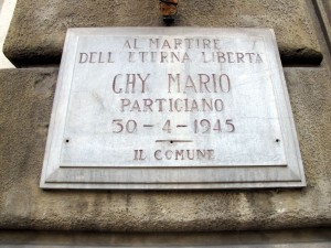 Lapide dedicata a Mario Ghy (1924 - 1945)