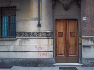 Enrico Bonicelli, Casa Baloire, 1911. Particolare dell'ingresso. Fotografia L&M, 2011.