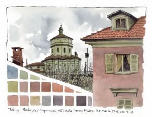 Lorenzo Dotti, Torino, Monte dei Cappuccini visto dalla Gran Madre, 31 marzo 2016 ore 18,10, acquerello