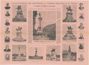 Inaugurazione del monumento a Vittorio Emanuele II, realizzato da Pietro Costa tra il 1882-1899, dalla