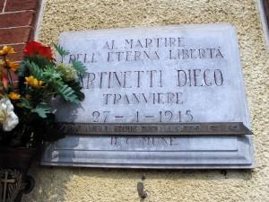Lapide dedicata a Diego Martinetti (1899 - 1945)