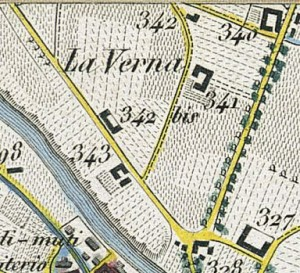 Cascina Verna nel quartiere Aurora. Topografia della Città e Territorio di Torino, 1840. © Archivio Storico della Città di Torino
