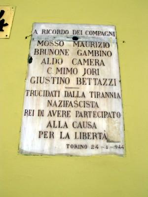 Lapide dedicata a Bettazzi Giustino, Camera Aldo, Gambino Brunone, Jori Carlo, Mosso Maurizio