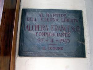 Lapide dedicata a Francesco Alchera (1886 - 1945)