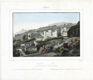 Veduta di Villa della Regina. Litografia Iunck su disegno di E. Gonin. © Archivio Storico della Città di Torino.