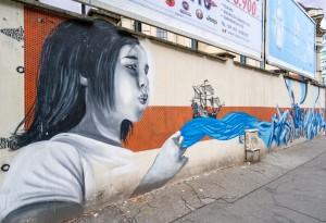 Orma il viandante, Kasy23, Sister Flash, 2 the piccis, corso Tassoni, 39B, MAU Museo Arte Urbana. Fotografia di Roberto Cortese, 2017 © Archivio Storico della Città di Torino