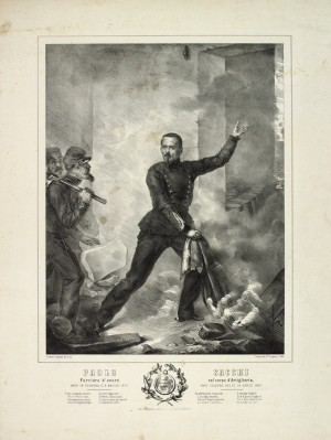 Il furiere d'onore Paolo Sacchi. Litografia dei F.lli Doyen da un dipinto di Scipione Cassani, 1852. © Archivio Storico della Città di Torino