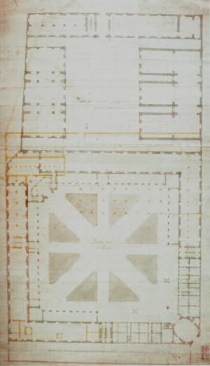 Secondo progetto di Filippo Juvarra per l'Arsenale di Torino. (Biblioteca di Artiglieria e Genio di Roma, da Borasi, 1995)