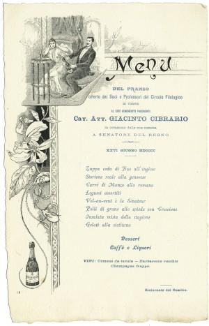 Menu del pranzo offerto a Giacinto Cibrario in occasione della sua nomina a Senatore del Regno, 26 giugno 1900, © Archivio Storico della Città di Torino.