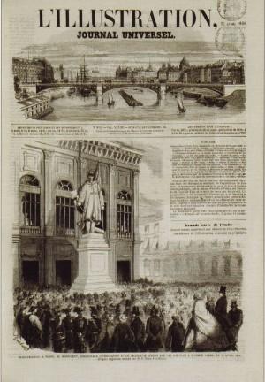 Inaugurazione del Monumento all'Alfiere dell'Esercito Sardo realizzato da Vincenzo Vela,