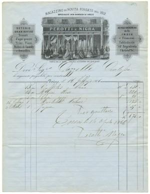 Ditta Perotti e Nigra, tessuti, intestazione commerciale del magazzino, 1866 © Archivio Storico della Città di Torino