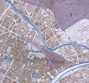 Giardini Reali. In colore diverso sono indicate le diverse superfici dei terrazzi fluviali modellati dal fiume Dora Riparia, la superficie 2 è la più antica. Disegno di Stefania Lucchesi.