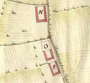 Cascina Tre Tetti Nigra. Disegno dei terreni esistenti tra Torino, Beinasco e Drosso, 1642, © Archivio Storico della Città di Torino