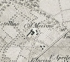 Cascina Meisino, già Cascina Bracco. Vittorio Brambilla, Contorni di Torino, 1877. © Archivio Storico della Città di Torino