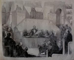 Una sessione del Parlamento italiano nel Palazzo Carignano di Torino, da