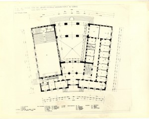 Pianta del piano primo dell'ex centro rionale Giovanni Porcù del Nunzio (da Montanari, 1992).