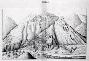 Carlo Morello. Rilievo di Tenda, integralmente copiato dal disegno di Carlo Vanello eseguito nel 1590. © Biblioteca Reale di Torino.