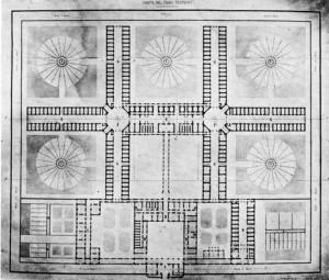 Progetto del carcere dell'architetto Polani, pianta piano terreno, 1861. © Archivio Storico della Città di Torino