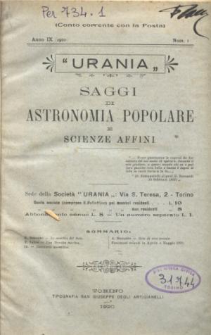 «Saggi di Astronomia popolare», 1920, copertina