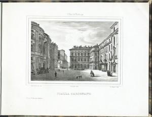 Palazzo Carignano. Litografia di Doyen e Comp. su disegno di E. Gonin, 1838. © Archivio Storico della Città di Torino