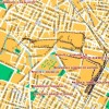 Pianta della città con l'indicazione approssimativa dei binari interni delle fabbriche. Immagine tratta da duegieditrice.it.