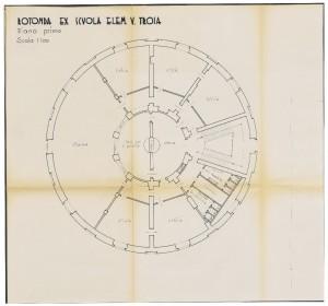 Rotonda ex Scuola Elementare V. Troia, pianta primo piano, scala 1:100, senza data (ASCT, Tipi e disegni, cart. 14, fasc.7, n.19A) © Archivio Storico della città di Torino