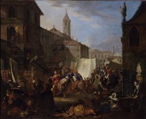 Pietro Domenico Olivero (1679-1755), Miracolo del Santissimo Sacramento a Torino: caduta dell'asina, ante 1742, olio su tela, cm 96x78,5. Torino, Museo Civico d'Arte Antica e Palazzo Madama, inv. 0636/D